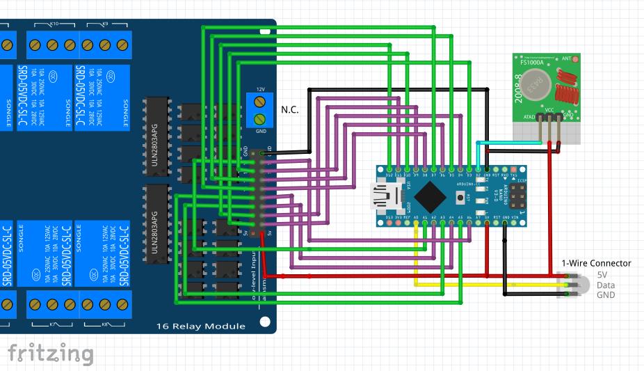 Fritzing Schema für die Verbindung von Arduino mit dem Relais Board, dem Funkmodul und 1-Wire